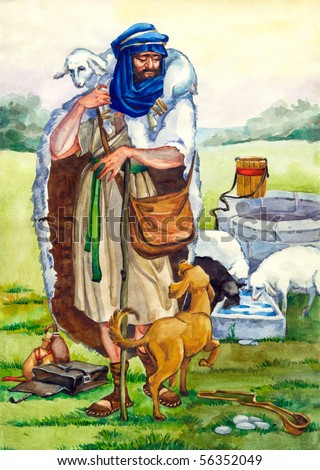 "Watercolor illustration of a series ""Life and everyday objects of ancient Palestine"". Shepherd - stock photo"