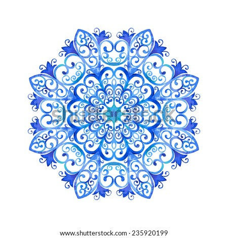 Watercolor illustration of a snowflake. Hand drawn raster artwork. - stock photo