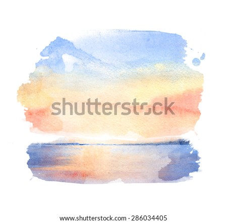 Watercolor illustration of a sunset  - stock photo