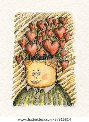 Watercolor illustration of an Intellectual man with a lot of hearts growing up from his head - stock photo