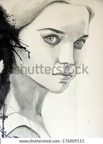 watercolor illustration of beautiful girl | handmade | self made | painting  - stock photo