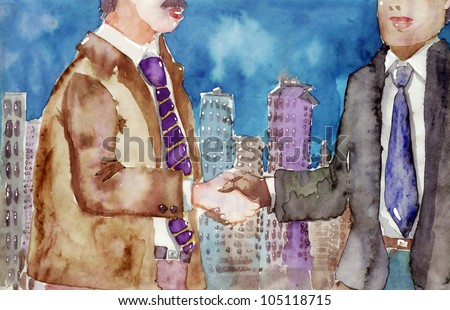 Watercolor illustration of business people shaking hands over a deal - stock photo