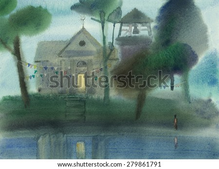 Watercolor illustration of church in the evening before the holiday