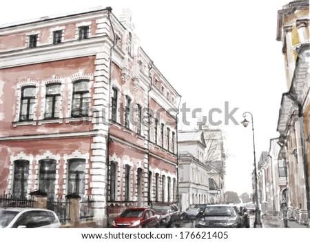 watercolor illustration of city scape - stock photo