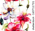 Watercolor illustration of colorful flowers, seamless pattern  - stock photo