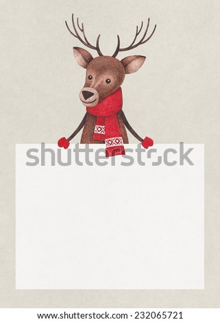 Watercolor illustration of deer. Perfect for Christmas greeting card - stock photo