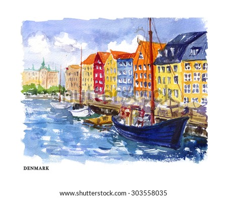 Watercolor illustration of Denmark sightseeings and cityscape with text place. Good for warm memory postcard design, any graphic design or book illustration. - stock photo