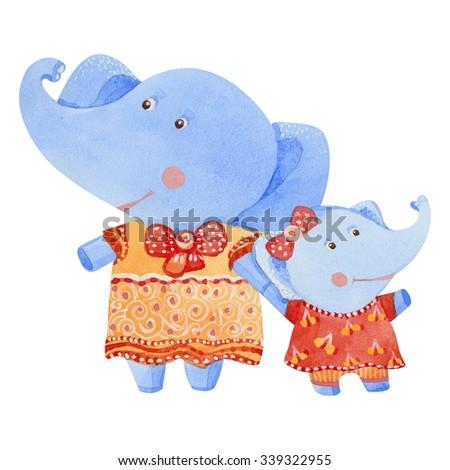 Watercolor illustration of elephants family - stock photo