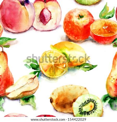 Watercolor illustration of fruit, seamless wallpaper  - stock photo