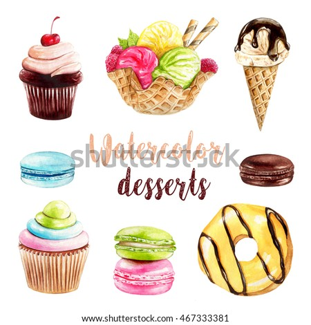 Watercolor illustration of hand painted desserts
