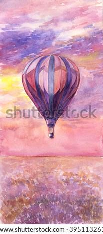 Watercolor illustration of hot air balloon - stock photo