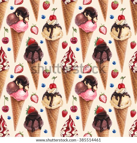 Watercolor illustration of ice cream. Seamless pattern