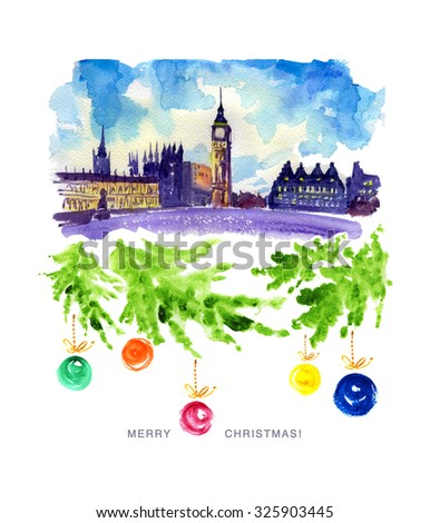 Watercolor illustration of London city view with ancient buildings, decorated fir branches and New Year congratulations. Memory Christmas postcard template. - stock photo