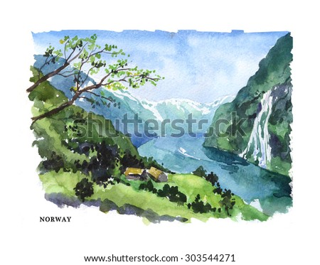 Watercolor illustration of Norway sightseeings and lake coast with text place. Good for warm memory postcard design, any graphic design or book illustration. - stock photo