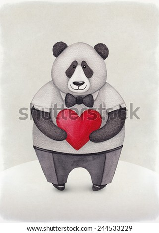 Watercolor illustration of Panda. Perfect for Valentine greeting card  - stock photo