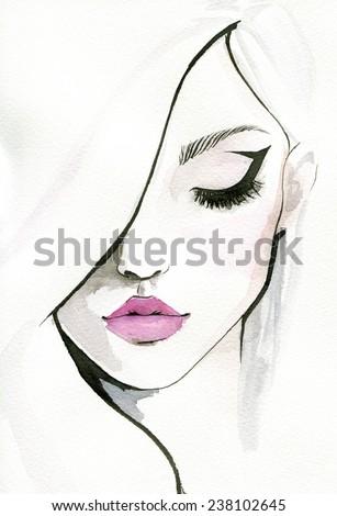 Watercolor illustration of pretty woman. - stock photo