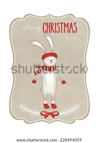 Watercolor illustration of rabbit. Perfect for Christmas greeting card