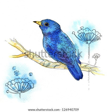 Watercolor illustration of small purple-blue bird on white background - stock photo