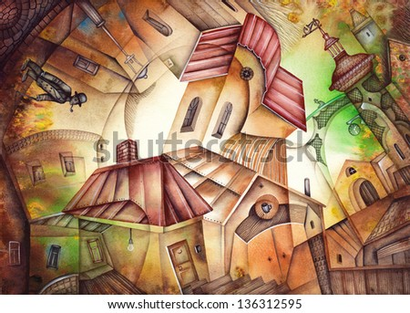 Watercolor illustration of the City Quarter. Illustration by Eugene Ivanov. - stock photo