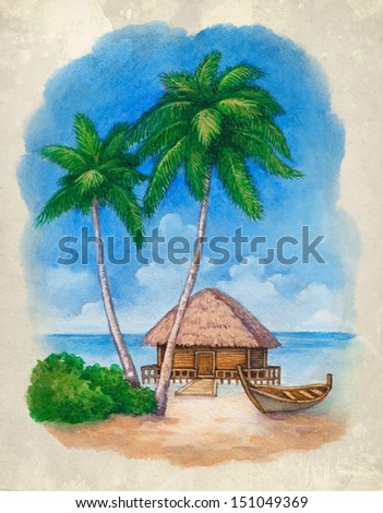 Watercolor illustration of the tropical beach