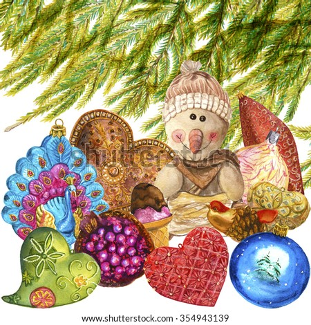 Watercolor illustration of toys under the Christmas tree. Can be used as a greeting card. - stock photo
