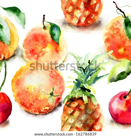 Watercolor illustration of tropical fruits, seamless pattern  - stock photo