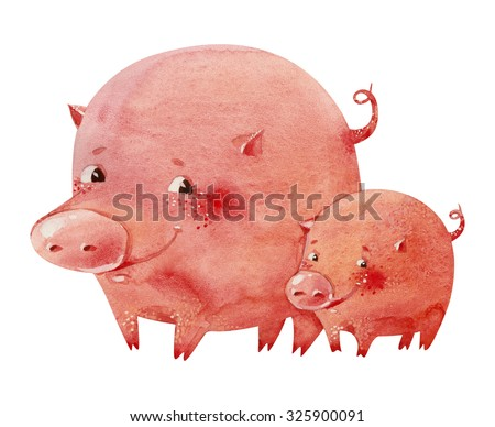 Watercolor illustration of two smiling pink piglets - stock photo