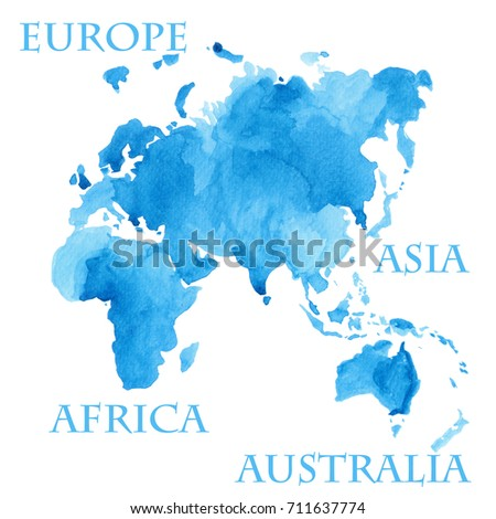 Watercolor illustration world map parts like stock illustration watercolor illustration of world map parts like europe asia africa and australia painted in gumiabroncs Gallery