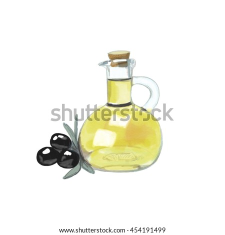 Watercolor illustration oil isolated on white background