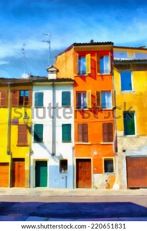 Watercolor illustration old city street. - stock photo