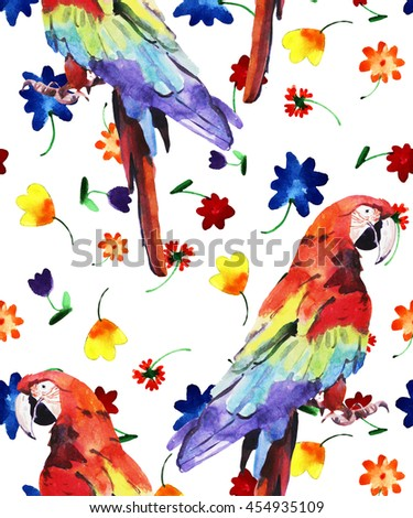 watercolor illustration, parrot, ara, pattern, hand painted isolated on white background - stock photo