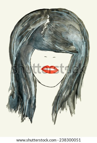 watercolor illustration, portrait of beautiful woman with hairstyle covering her eyes - stock photo