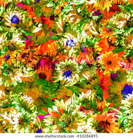 Watercolor illustration. Seamless pattern. Bright flowers