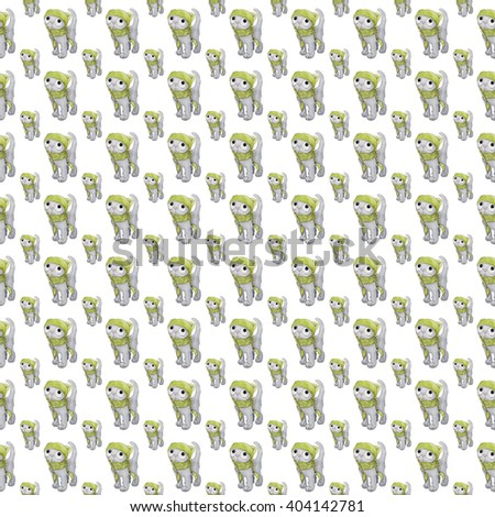 Watercolor illustration seamless pattern .Cute cat character . sad cat