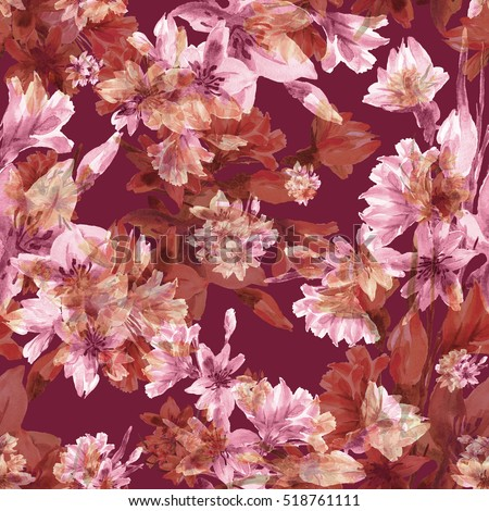 Watercolor illustration. Seamless pattern. Daffodils field on a red background - E
