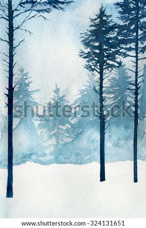 Watercolor illustration. Winter landscape, trees, sky. - stock photo