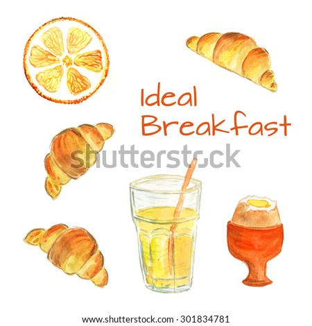 Watercolor illustration with IDEAL BREAKFAST: croissants, orange slice, orange juice, egg. Best choice for italian or french breakfast with fresh food and drinks. Template for cafe or restaurant. - stock photo