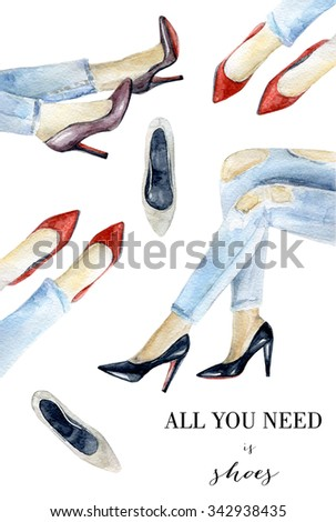 Watercolor illustration with legs and shoes. Hand drawn fashion design - stock photo