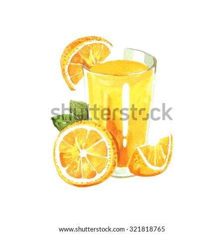 Watercolor illustration with orange and orange juice - stock photo