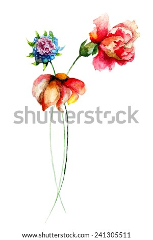 Watercolor illustration with Stylized flowers   - stock photo