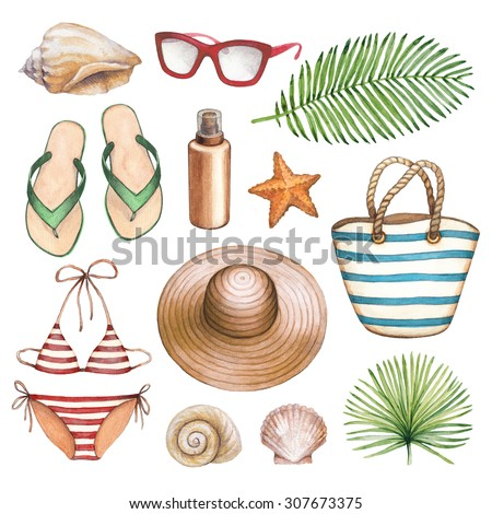 Watercolor illustrations of beach accessories