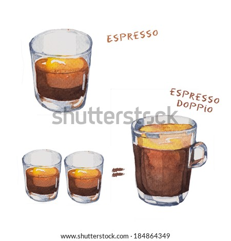 Watercolor illustrations of coffee cup - stock photo
