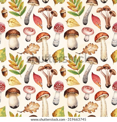 Watercolor illustrations of mushrooms and leaves. Seamless pattern - stock photo