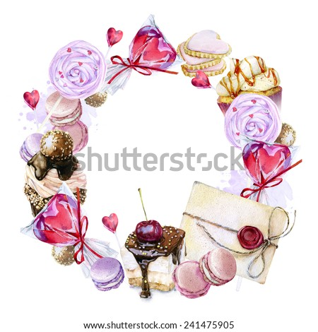 Watercolor image of a wreath of sweets, candies in the shape of hearts, chocolates, cakes and envelope, Valentine's Day. - stock photo