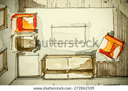 Watercolor ink freehand sketch drawing of partial house floor plan as aquarell painting showing living room with red sofa, symbolizing artistic custom unique approach in buying real estate property - stock photo