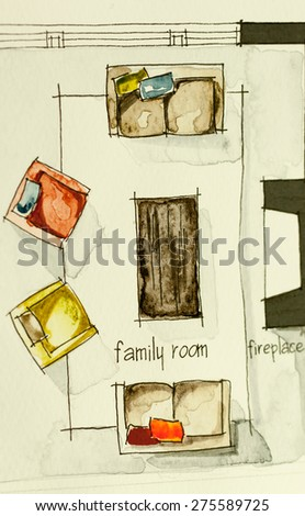 Watercolor ink sketch drawing of partial house floor plan as aquarelle painting showing living room fireplace with sofas, symbolizing artistic custom comfort approach in real estate property market - stock photo