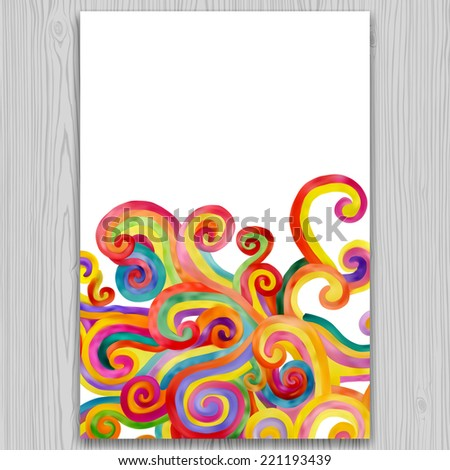 Watercolor invitation and greeting card with multicolored curl background on gray wood texture - stock photo