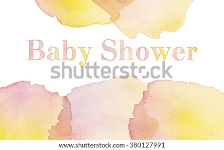 watercolor invitation. painted hand made header for baby shower invitation for girl. gorl baby shower - stock photo