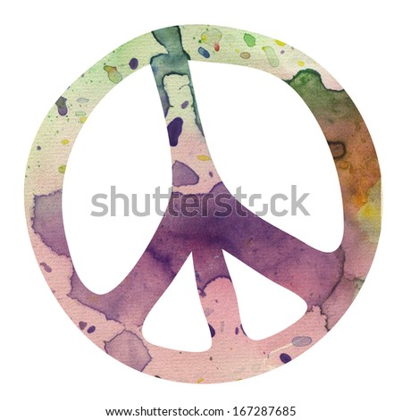 Watercolor isolated peace symbol. - stock photo