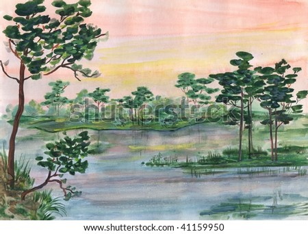 Watercolor landscape - stock photo